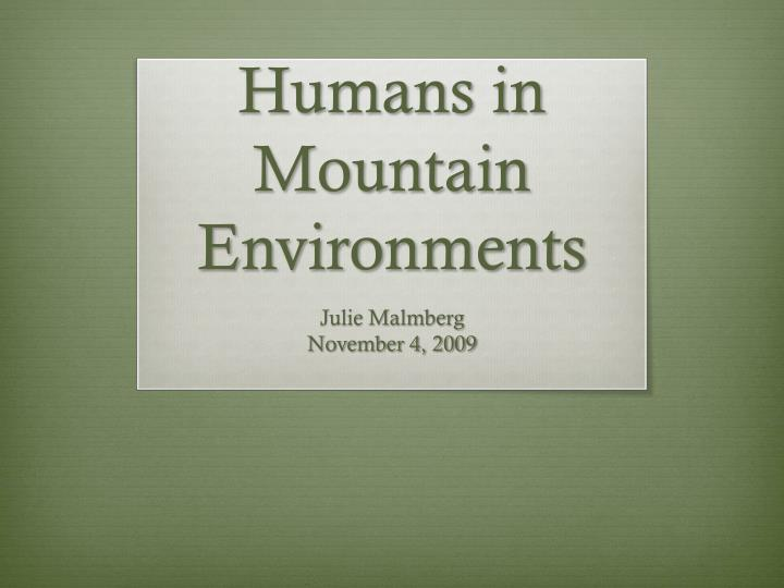 humans in mountain environments n.