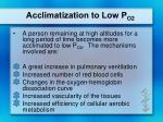 acclimatization to low p o2