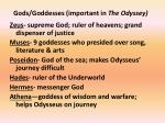 gods goddesses important in the odyssey
