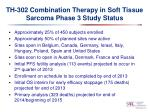 th 302 combination therapy in soft tissue sarcoma phase 3 study status
