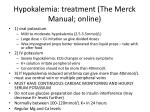hypokalemia treatment the merck manual online