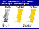 cost effectiveness of one time hiv screening in different regions