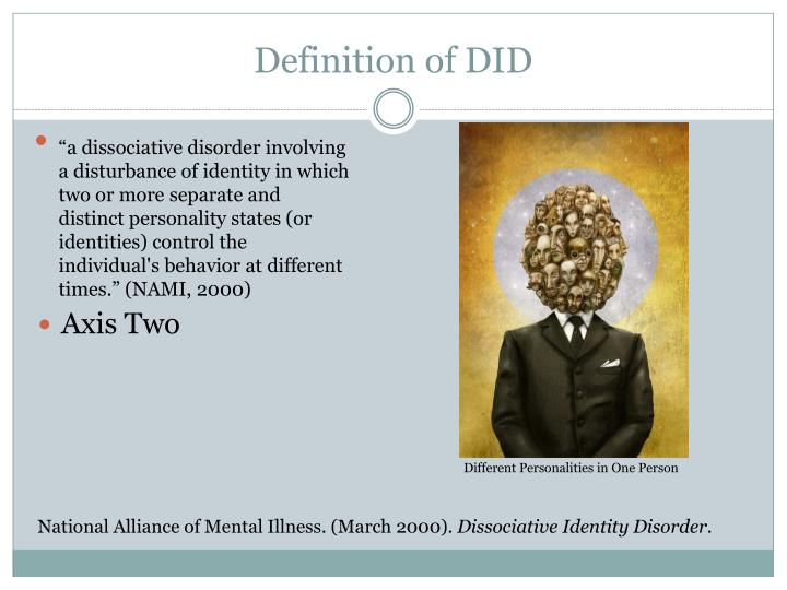 an overview of multiple personality disorder mpd or dissociative identity disorder did Dissociative identity disorder (formerly known as multiple personality disorder) is a mental illness in which the sufferer has two or more notably different personalities struggling for control of their body the personalities coming to the fore at different times.