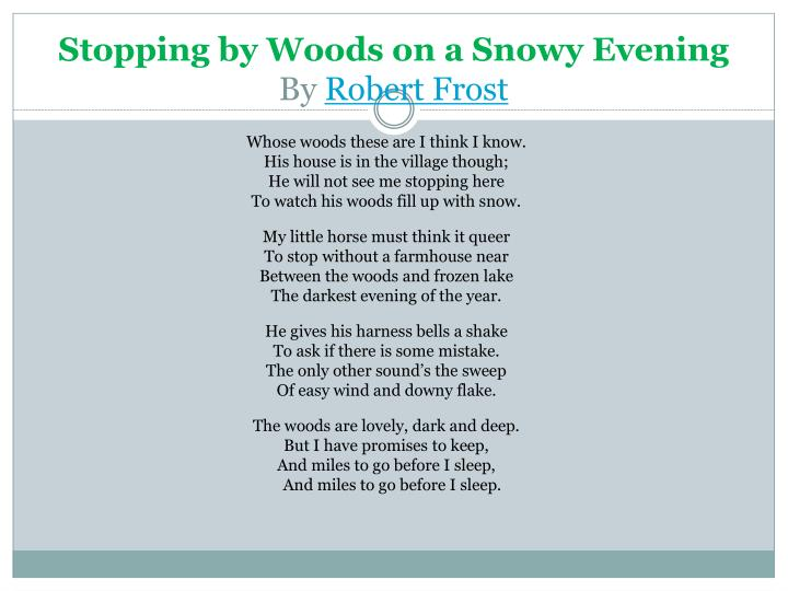 Stopping By Woods On A Snowy Evening Summary