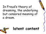 in freud s theory of dreaming the underlying but censored meaning of a dream