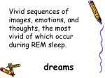 vivid sequences of images emotions and thoughts the most vivid of which occur during rem sleep
