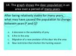 14 the graph shows the deer population in an area over a period of many years
