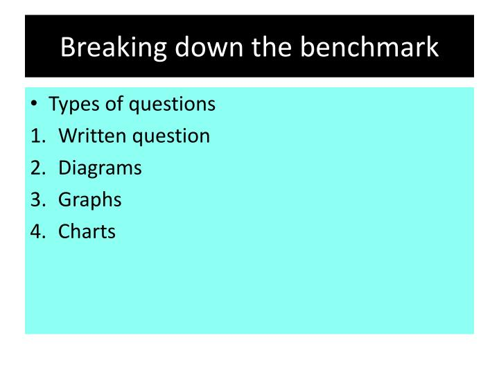 Breaking down the benchmark