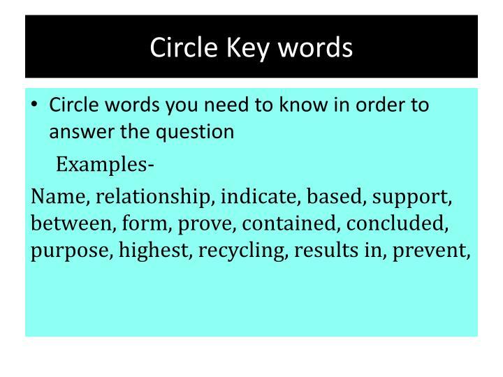 Circle Key words