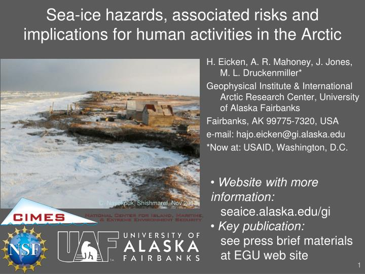 sea ice hazards associated risks and implications for human activities in the arctic n.