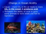 change in ocean acidity