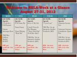 welcome to rela week at a glance august 27 31 2012
