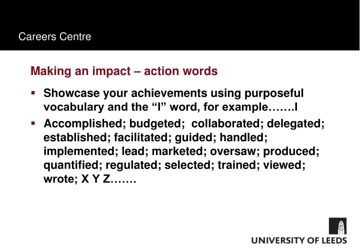 Making an impact – action words