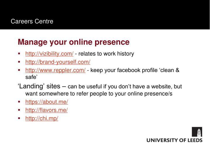 Manage your online presence
