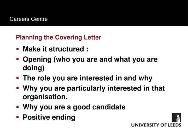 Planning the Covering Letter