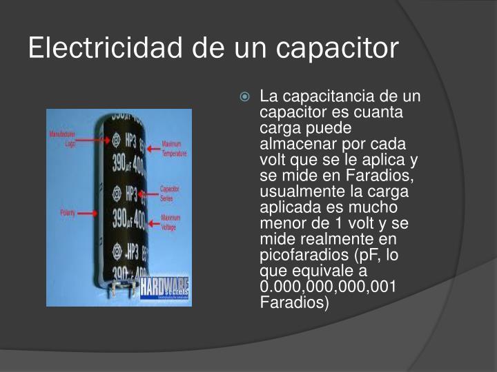 Electricidad de un capacitor
