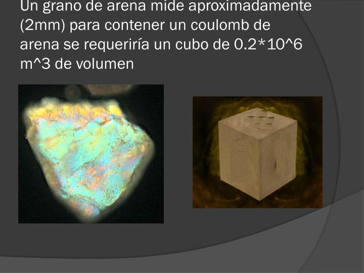 Un grano de arena mide aproximadamente (2mm) para contener un coulomb de arena se requeriría un cubo de 0.2*10^6 m^3 de volumen