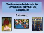 modifications adaptations to the environment activities and expectations