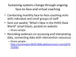 sustaining systems change through ongoing face to face and virtual coaching