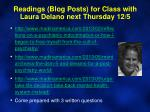 readings blog posts for class with laura delano next thursday 12 5