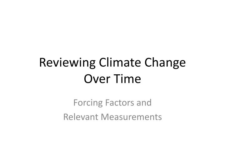 reviewing climate change over time n.