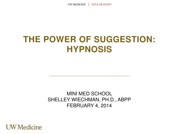 the power of suggestion hypnosis n.