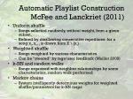 automatic playlist construction mcfee and lanckriet 2011