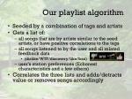 our playlist algorithm