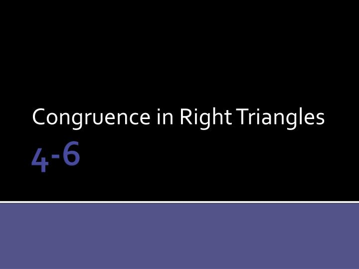 congruence in right triangles n.