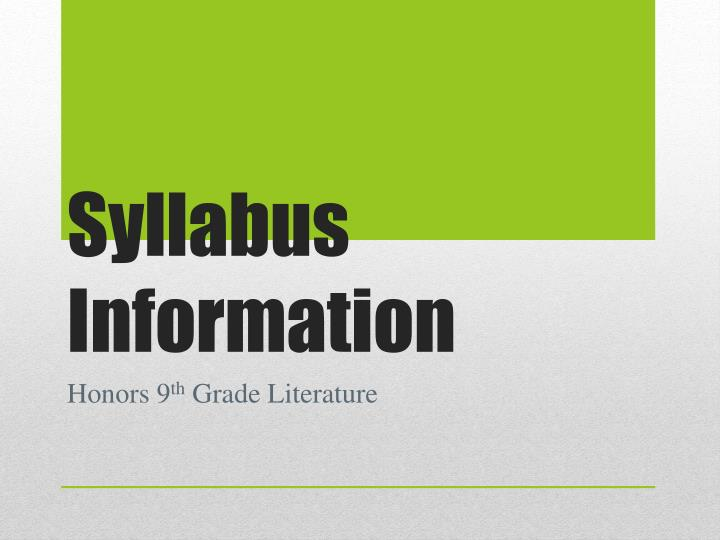 syllabus information n.