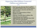 supporting gifted military connected children and adolescents