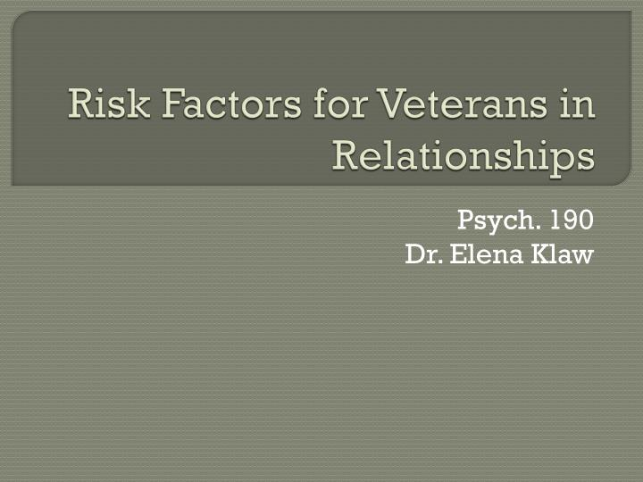 risk factors for veterans in relationships n.