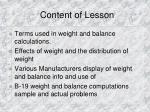 content of lesson