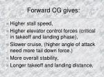 forward cg gives