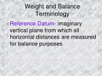 weight and balance terminology