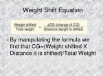 weight shift equation