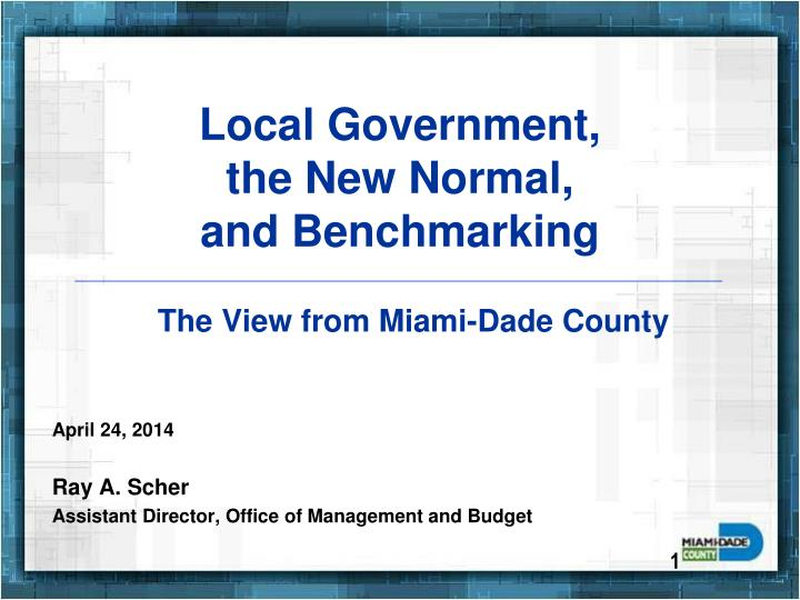 local government the new normal and benchmarking n.