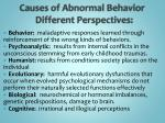 causes of abnormal behavior different perspectives