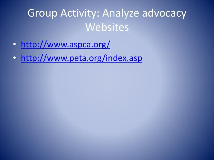 Group Activity: Analyze advocacy Websites