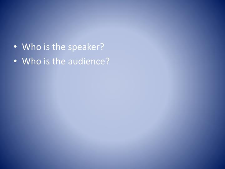 Who is the speaker?
