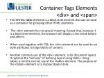 container tags elements div and span