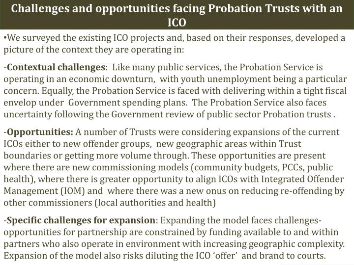 Challenges and opportunities facing Probation Trusts with an ICO