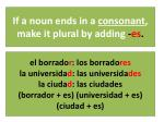 if a noun ends in a consonant make it plural by adding es
