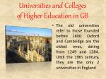 universities and colleges of higher education in gb1
