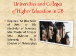 universities and colleges of higher education in gb2