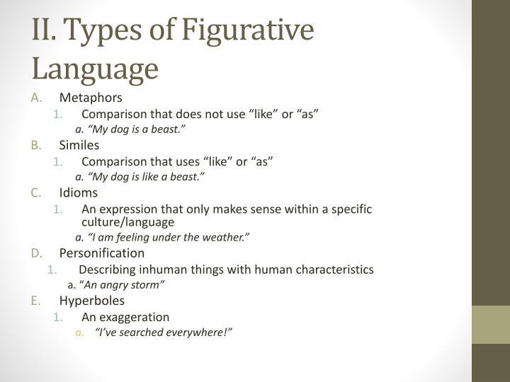 Ii types of figurative language