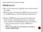 characteristics patterns of sleep nrem sleep
