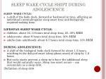 sleep wake cycle shift during adolescence