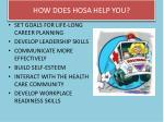 how does hosa help you