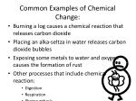 common examples of chemical change